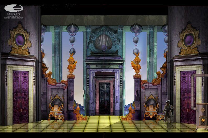 """第一幕 """"灰姑娘的家""""舞美设计图(舞美设计:帕特里卡·约内斯科)"""