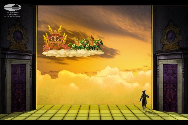 """第一幕 """"神奇马车到来""""舞美设计图(舞美设计:帕特里卡·约内斯科)"""