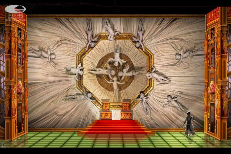 """第二幕 """"皇宫婚礼现场""""舞美设计图(舞美设计:帕特里卡·约内斯科)"""