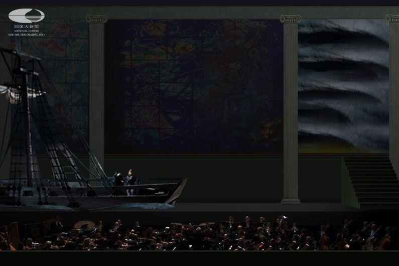 舞美设计图 世界和平庆典音乐会中上演歌剧《漂泊的荷兰人》选段(舞美