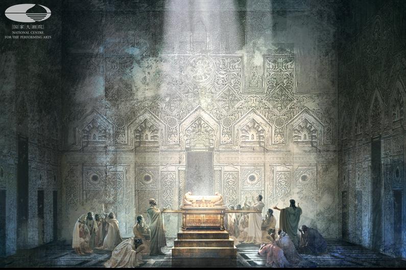 剧目生产 院藏剧目  歌剧《纳布科》海报 第一幕 舞美设计图(舞美设计