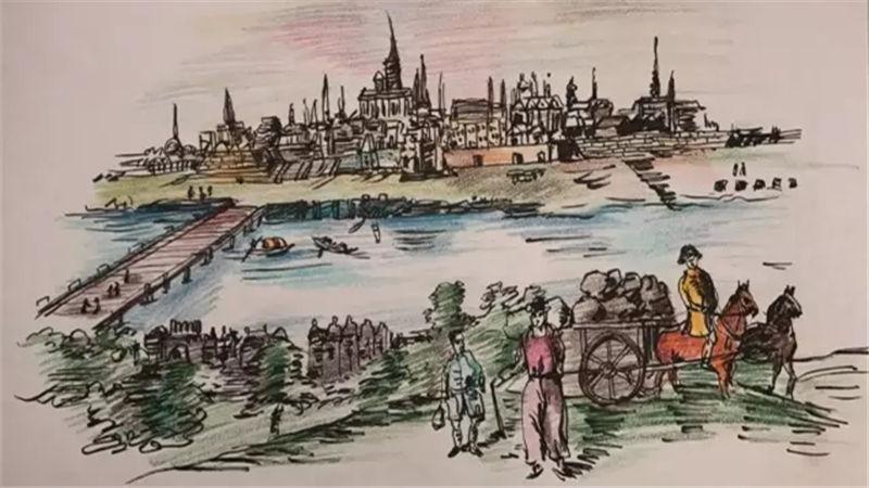手绘图:维也纳远眺景致
